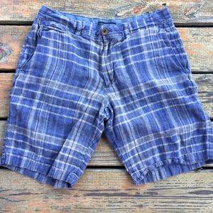 Banana Republic Blue Tan Plaid Shorts, Size 33